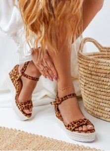 Sandałki na koturnie Patricia Leopard